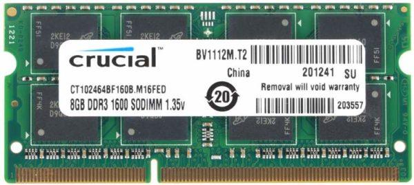 Crucial Memoria Ram DDR3 8GB 1600Mhz Notebook CT102464BF160B