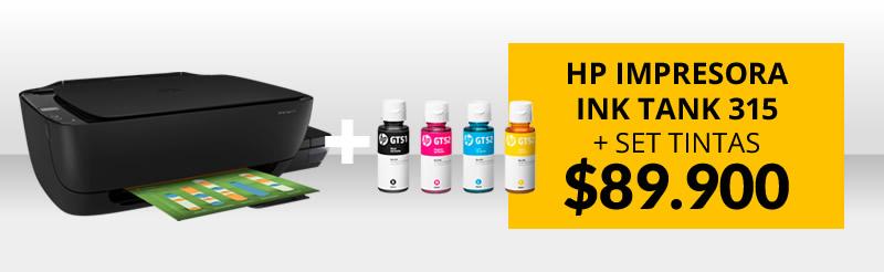 HP Impresora Ink Tank 315 Z4B04A + Tintas Negro y Colores