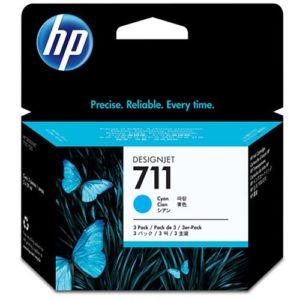 HP Tinta 711 Tripack Cyan CZ134A 3 Cartuchos